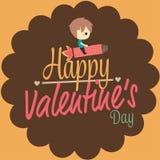 Ракета езды мальчика карточки влюбленности валентинок Стоковое Изображение RF