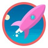 Ракета летает в космос икона Стоковая Фотография RF