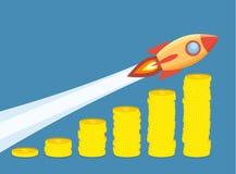Ракета летая вверх на диаграмму роста монеток Стоковое Изображение