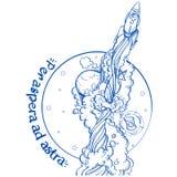 Ракета идет вверх на предпосылку глобуса Иллюстрация контура на теме космического исследования Motivotsionny иллюстрация вектора