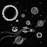 Ракета и планеты рисуют дизайна солнечной системы иллюстрация вектора