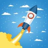 Ракета над облаками и остроконечным дизайном предпосылки бесплатная иллюстрация