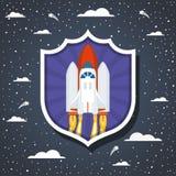 Ракета над облаками и остроконечным дизайном предпосылки иллюстрация вектора