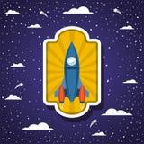 Ракета над облаками и остроконечным дизайном предпосылки иллюстрация штока