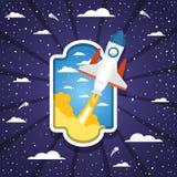 Ракета над облаками и striped дизайном предпосылки иллюстрация штока