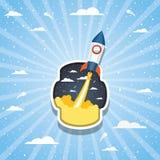 Ракета над облаками и striped дизайном предпосылки бесплатная иллюстрация