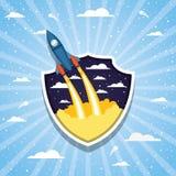 Ракета над облаками и striped дизайном предпосылки иллюстрация вектора