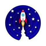 Ракета принимает в космос Origami Слойки дыма, неба звездной ночи вытыхания Высекаенный гнездо, шаги красные крыла иллюстрация штока