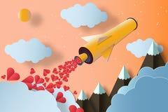 Ракета с много сердцами заволакивает горы человек влюбленности поцелуя принципиальной схемы к женщине иллюстрация штока