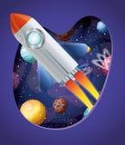 Ракета с пламенем и планеты конструируют иллюстрацию вектора иллюстрация штока