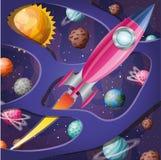 Ракета с пламенем и планеты конструируют иллюстрацию вектора бесплатная иллюстрация