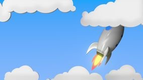 Ракета с флагом Израиля летает в небо Израильская предпосылка движения успеха или космической программы родственная loopable бесплатная иллюстрация