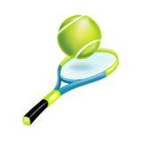 Ракетка тенниса при изолированный шарик Иллюстрация вектора