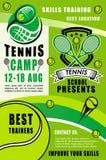 Ракетки и шарики тенниса Лагерь спорта иллюстрация вектора