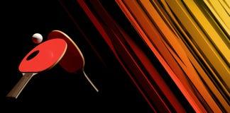 2 ракетки настольного тенниса или пингпонга и desig плаката турнира шарика на абстрактной иллюстрации backgroung 3d иллюстрация вектора