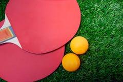 Ракетки настольного тенниса и оранжевые шарики, затворы пингпонга на greensward стоковая фотография rf
