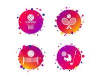 Ракетки тенниса с шариком польза баскетбола корзины предпосылки вектор иллюстрация вектора