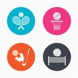 Ракетки тенниса с шариком польза баскетбола корзины предпосылки Стоковое Изображение RF