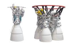 Ракетные двигатели, двигатель с 2 соплами и двигатель с 4 соплами изолированный на белом backgroung Стоковое Изображение RF
