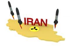 Ракеты запускают от модели Ирана с ядерным логосом Стоковые Фотографии RF