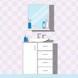 Раковина ванной комнаты с стойкой и зеркалом, бутылкой, сливк иллюстрация штока
