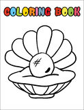 Раковина книжка-раскраски с шаржем жемчуга Стоковое Фото
