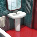 раковина красного цвета ванной комнаты Стоковые Изображения