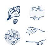 Раковина моря и комплект дизайна веревочки Стоковое Изображение RF