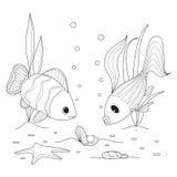 Раковина с жемчугом, заплывание рыб вокруг, морские звёзды Стоковая Фотография
