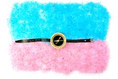 Раковины и компас моря на голубом розовом соли Стоковое Изображение