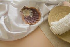 Раковины и полотенца: предпосылка курорта Стоковые Фото