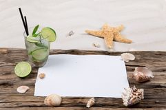 Раковины и mojito моря Стоковое Изображение RF