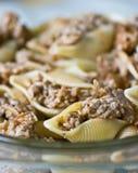 раковины моря макаронных изделия мяса стоковые изображения