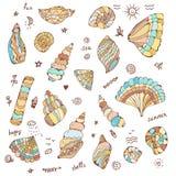 Раковины моря установили с смешной иллюстрацией дизайна, графиком иллюстрация штока