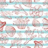 Раковины моря, seastars и предпосылка кораллов безшовная Голубая и белая безшовная картина для книжка-раскраски, ткани, печати, о Стоковое фото RF