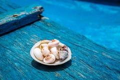 Раковины на палубе старой деревянной шлюпки, острова Boracay, Филиппин Стоковые Изображения RF