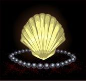 раковины черной перлы драгоценные иллюстрация вектора