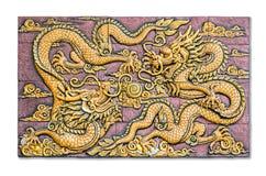 2 дракона китайских стиля золотых воюя как techniqu низкого сброса Стоковое Изображение