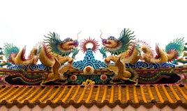 2 дракона на крыше Стоковая Фотография
