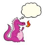 дракон огня шаржа дышая с пузырем мысли Стоковые Фото