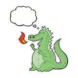 дракон огня шаржа дышая с пузырем мысли Стоковые Изображения RF