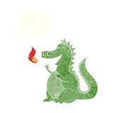 дракон огня шаржа дышая с пузырем мысли Стоковое Изображение RF