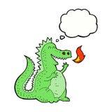 дракон огня шаржа дышая с пузырем мысли Стоковое Изображение