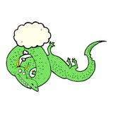 дракон шаржа китайский с пузырем мысли Стоковое Изображение