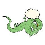 дракон шаржа китайский с пузырем мысли Стоковые Изображения