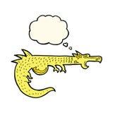 дракон шаржа средневековый с пузырем мысли Стоковое фото RF
