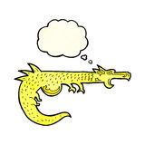 дракон шаржа средневековый с пузырем мысли Стоковые Изображения
