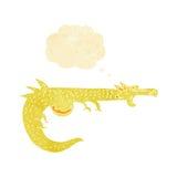 дракон шаржа средневековый с пузырем мысли Стоковая Фотография RF