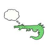 дракон шаржа средневековый с пузырем мысли Стоковое Изображение RF