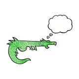 дракон шаржа средневековый с пузырем мысли Стоковая Фотография